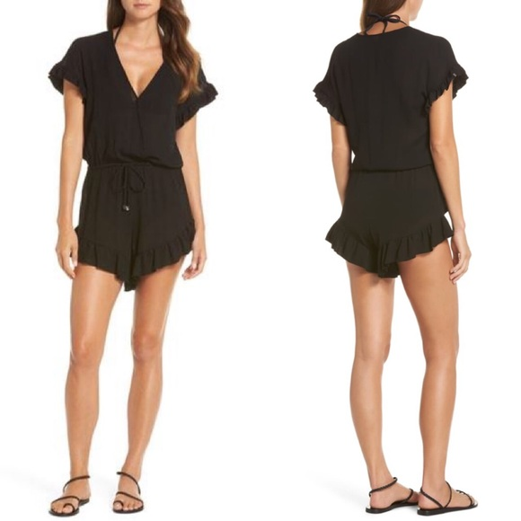 Ruffle Sleeve Cover-up Romper In Black- Small